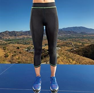 Womens capri fitness leggings feature a fit that hugs your body from hip to knee, with a design that flatters and enhances comfort, whatever your workout; SLT branded