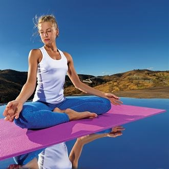 Yoga and fitness mat branded SLT logo. Textured foam , 100% PVC with Carry strap.